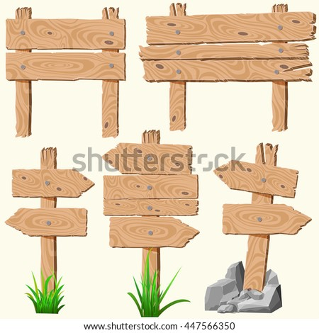 Set of empty, blank wooden planks or boards, guidepost, with cracks and knots, with nails, grass and rocks or stones, you can simply regrouped elements depends on your needs,vector