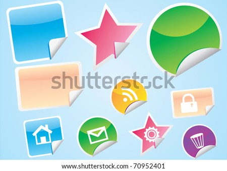 set of empty detail  stickers vector illustration eps8 - stock vector