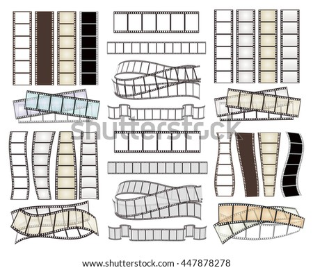 set of empty film strips on white. vector illustration