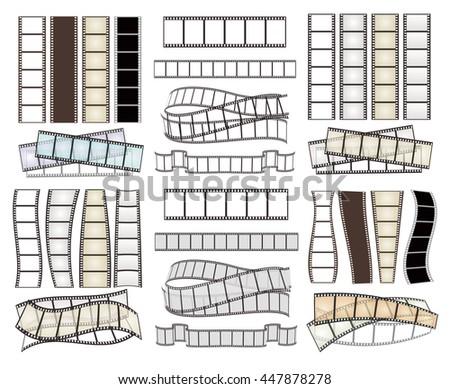 set of empty film strips on white. vector illustration - stock vector