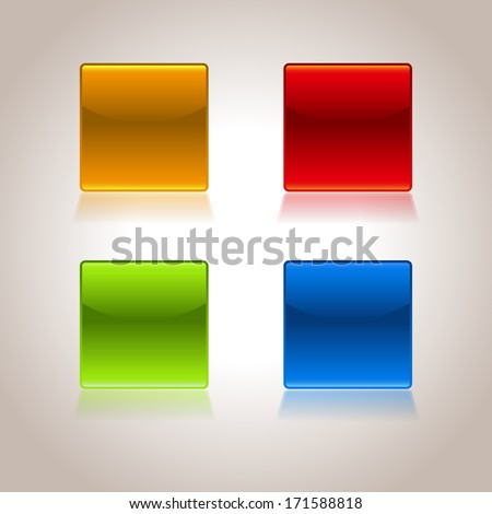 Set of empty glossy buttons - illustration - stock vector