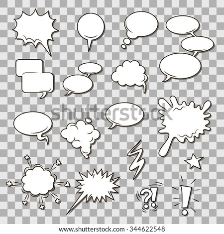 Set of empty graphic black and white comics speech bubbles, vector templates for your text with shadow halftone on background - stock vector