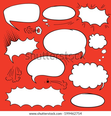 Set of empty graphic comics speech bubbles, vector templates clouds for text, white with black stroke on red background - stock vector