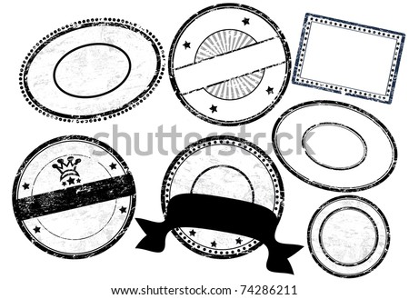 Set of empty grunge rubber stamps  with space for text, vector illustration - stock vector