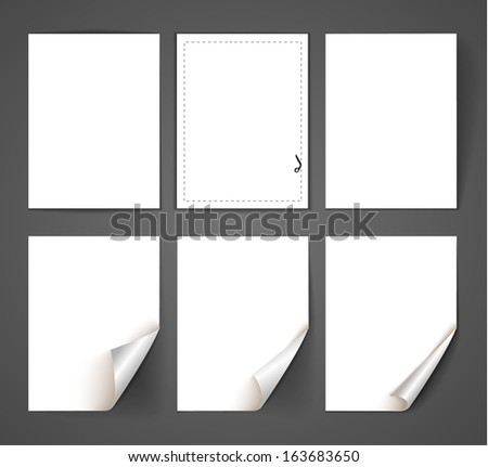 Set of empty paper sheets. Vector illustration - stock vector