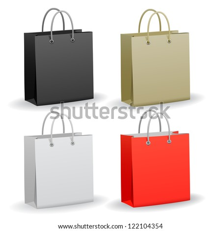 Set of empty paper shopping bag, vector - stock vector