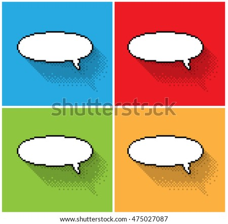 Set of empty pixel text bubbles, illustration. - Editable stock vector