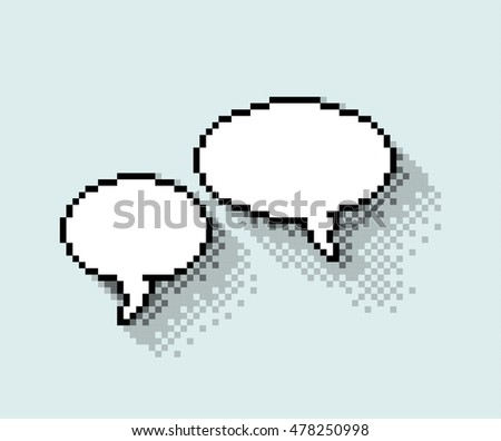 Set of empty pixel text bubbles in flat design, illustration. - Editable stock vector