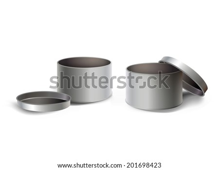 Set of empty steel box isolated over white