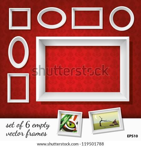 set of 6 empty vector frames - stock vector