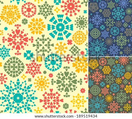 Set of 3 endless textures for wallpapers, background, pattern fills. 3 abstract geometric backgrounds. - stock vector