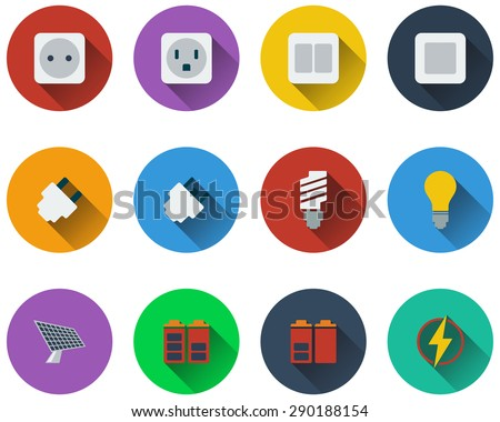 Set of energy icons in flat design. EPS 10 vector illustration with transparency. - stock vector