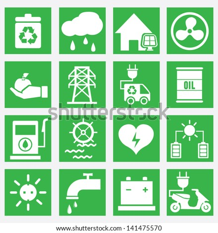 Set of energy saving icons - part 2 - vector icons - stock vector