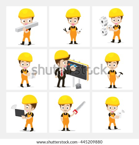 Set of 9 engineer and labor worker in difference action vector illustration eps10 isolated on white background