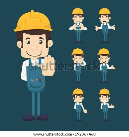 Set of engineer characters poses , eps10 vector format - stock vector