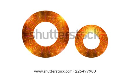 Set of English letters signs uppercase and lowercase O, stylized gold and orange holiday firework with stars and flares, elements for web design. Eps10, contains transparencies. Vector - stock vector
