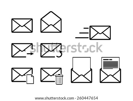 Set of envelope outline icons for mail interface isolated on white - stock vector
