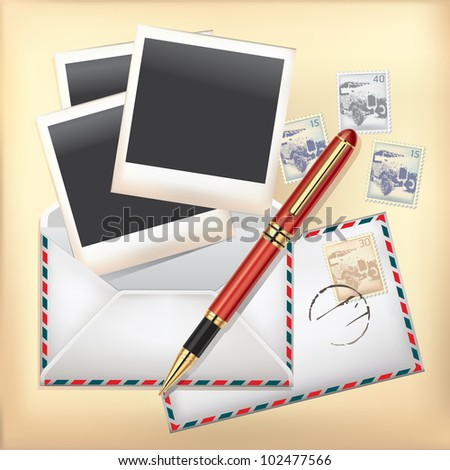 Set of Envelope, Stamp, Pen and Instant photo frame.