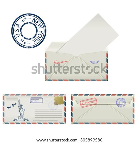 Set of envelopes from New York with a painted Statue of Liberty and postmark. Stylization. Vector illustration.