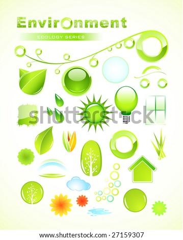 Set of environmental icons - stock vector