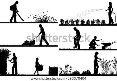 Set of eps8 editable vector silhouette foregrounds of people gardening with all figures as separate objects - stock vector