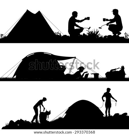Set of eps8 editable vector silhouettes of people camping with figures and tents as separate objects - stock vector