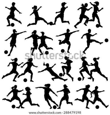 Set of eps8 editable vector silhouettes of women playing football with all figures as separate objects - stock vector