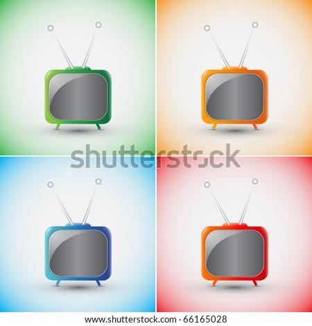 Set of EPS10 Vector Blue Retro Tv - stock vector