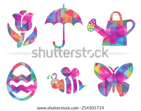 Set of EPS10 Vector Colorful Illustrated Spring Mosaic Style Polygonal Silhouette Icons Isolated on White Background  - stock vector