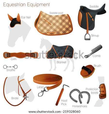 Set of equestrian equipment for horse. Saddle, bridle, Stirrup, Girth, Snaffle ,  Lead, Protection boots, Horseshoes, Blanket, Ear Net, Saddle pad, etc. - stock vector