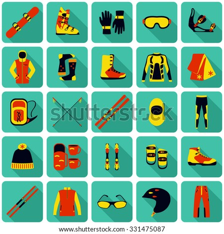 Set of equipment, cloth and shoes for winter kind of sports. Snowbord, mountain skies, cross country skies. Special protection cloth and shoes. Flat long shadow design. Vector illustration.