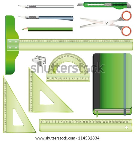 Set of equipment for drafting and drawing with transparent plastic rulers, pencil, model knife, scissors and green sketchbook - stock vector