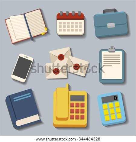 set of equipment for office shadow flat design vector for web and mobile applications
