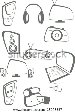 Set of equipment icons