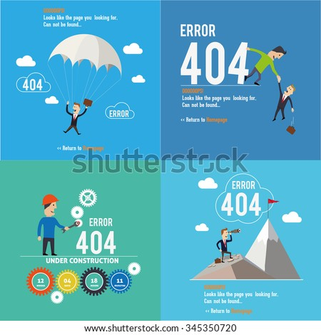 Set of error pages. Page not found, 404 error. Web page. - stock vector