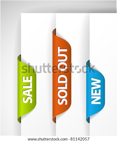 Set of eshop tags for new, sale and sold out items - blue, green and red - stock vector