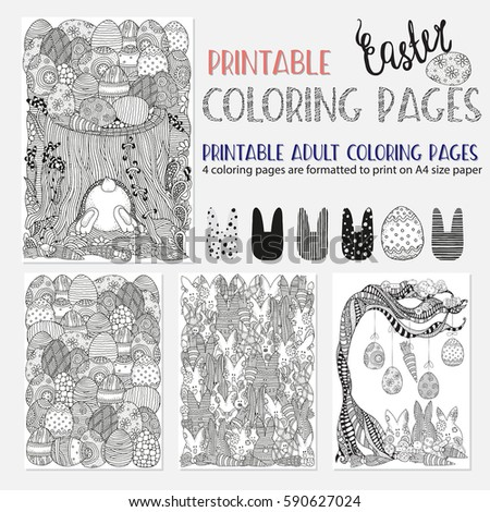 set of ester coloring book pages for adult and children a4 size vector - Coloring Book Paper Stock