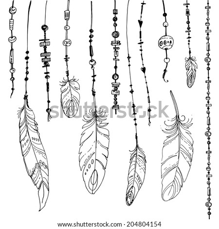 Set of ethnic feathers. Ethnic seamless pattern in native style.  - stock vector