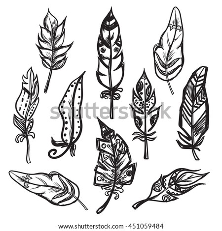 Set of ethnic feathers Vector illustration