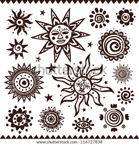 Set of ethnic handmade suns isolated on a white background - stock vector