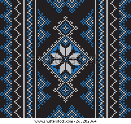 Set of Ethnic ornament pattern in different colors. Vector illustration. From collection of Baltic-Slavic ornaments - stock vector
