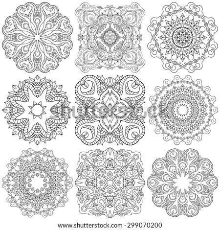 Set of ethnic ornamental floral pattern. Henna mehndi design elements. Hand drawn mandalas. Orient traditional background. Lace circular ornaments.  Indian, Islamic, Asian, ottoman, Arabic  motifs. - stock vector