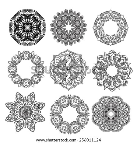 Set of ethnic round patterns. Vector elements for your design - stock vector