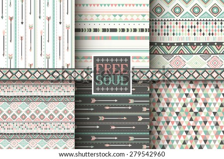 Set of 6 ethnic seamless patterns. Tribal geometric background. Stylish trendy fabric. Modern abstract wallpaper. Vector illustration. - stock vector