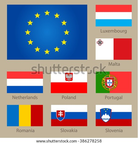 Set of European countries flags on neutral background. Vector illustration