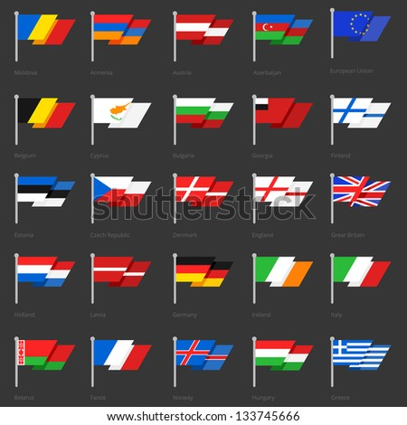 Set of european flags. Very stylish. Vector illustration scale to any size