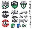Set of european football, soccer labels, emblems and design elements
