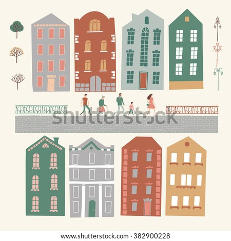 Set of European style colorful cartoon buildings and road. City constructor including different people, trees, lampposts. Childish style illustrations set for your design. - stock vector