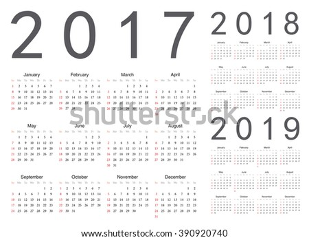 Set of european 2017, 2018, 2019 year vector calendars. Week starts from Sunday.
