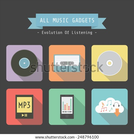 set of evolution of music gadget icon, analog to digital technology, flat style - stock vector